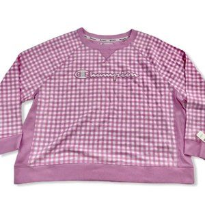 Pink Checked Champion Sweatshirt Plus 3X NWT